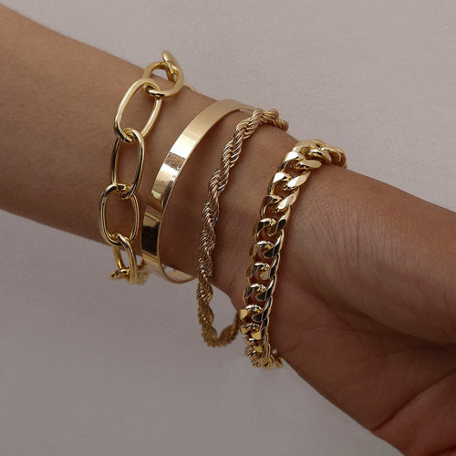 Hip Hop Chunky Bracelet Set (4pcs)