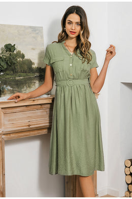 Belted Midi Summer Dress