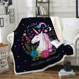 MICROFIBER 'UNICORNS ARE REAL' BLANKET