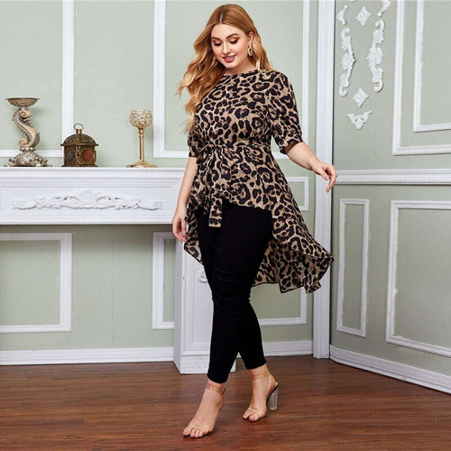 Plus Size High Low Hem Belted Leopard Blouse