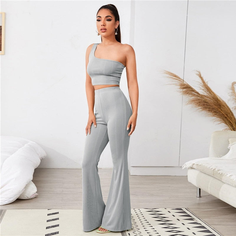 Ribbed Crop Top and Flared Pants Set
