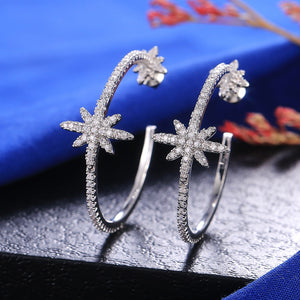 Huitan Crystal Zircon Women Hoop Earrings