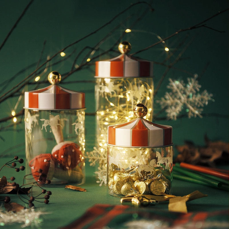 Moisture-proof Christmas Carousel Glass Jar