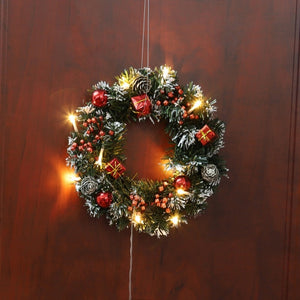Christmas Wreath With Battery Powered LED Light