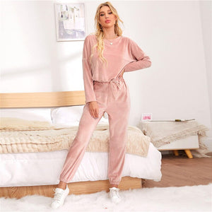 Pink Drop Shoulder Flannel Winter Lounge Set