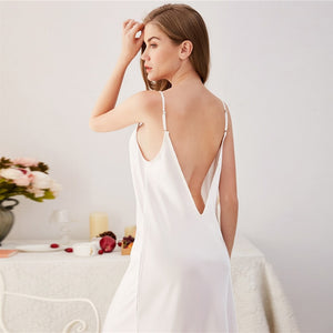 Deep V Back Satin Cami Nightdress