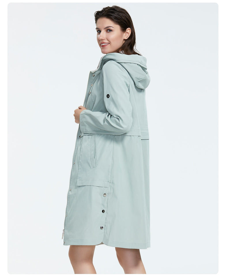 Plus Size Mid-Length Trench Coat