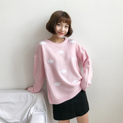 Vintage Clouds Print Sweater