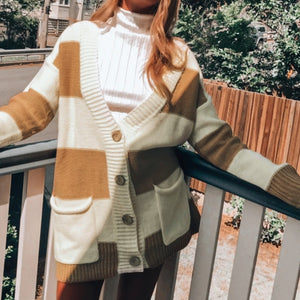 Vintage Knitted Stripe Cardigan