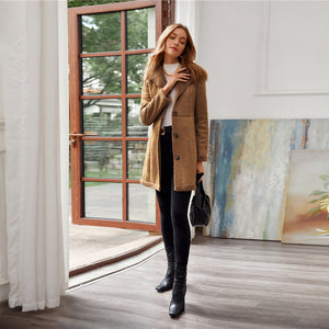 Women Shearling Detail Button Front Suede Coat