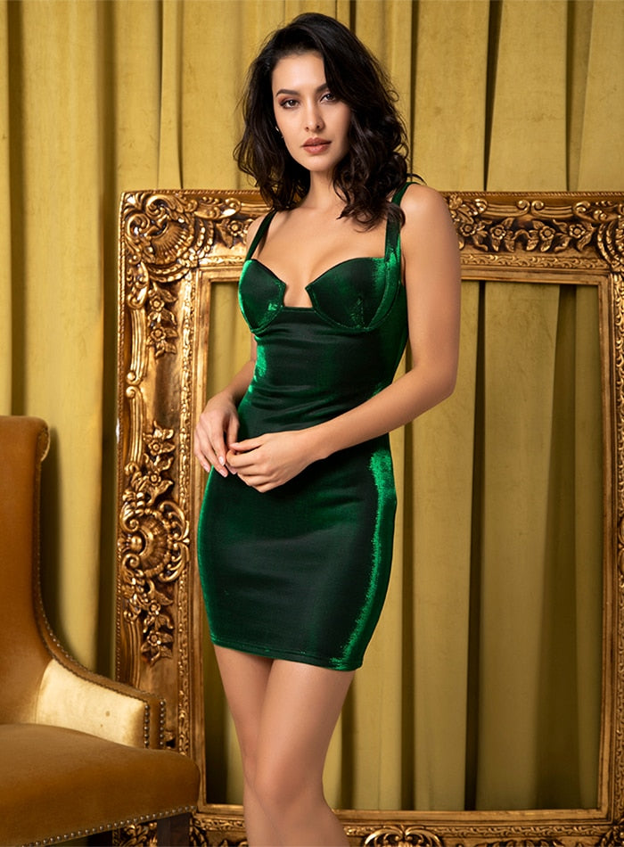 Green Spaghetti Strap Party Dress