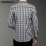 COODRONY Slim Fit Plaid Shirt