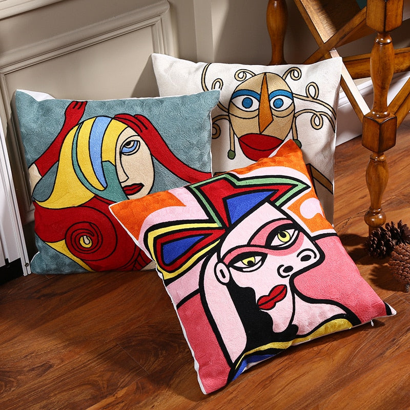 Embroidered Cushion Cover (45x45 cm) - SHOPPLEHUB