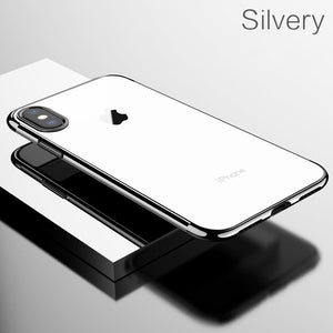 Iphone X ultra thin case Plating TPU transparent Silicone Case Cover - SHOPPLEHUB