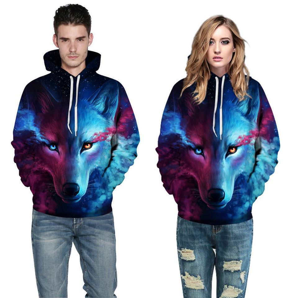 Unisex Couples Lovers 3D Sky Wolf Print Loose Hoodies Blouse Tops Shirt - SHOPPLEHUB