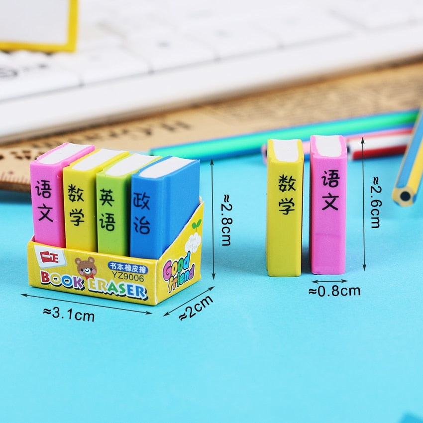 4 PCS Pack Book Style Erasers - SHOPPLEHUB