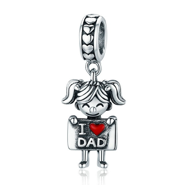 Sterling Silver I Love Dad/Mom Charm - SHOPPLEHUB