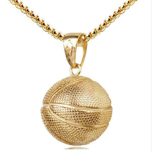 Stainless Steel Unisex Basketball Pendant Necklace - SHOPPLEHUB