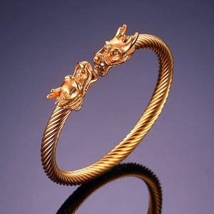 Dragon Accent Thick Cable Cuff Bracelet