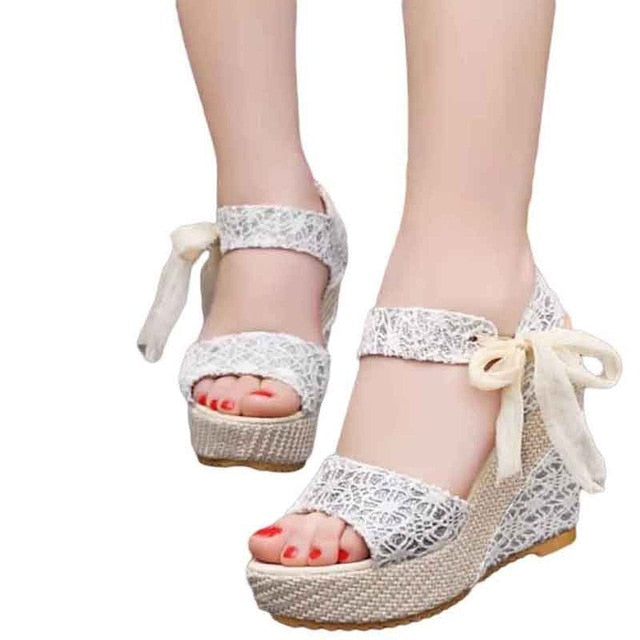 Open Toe Floral Wedge Sandals - SHOPPLEHUB