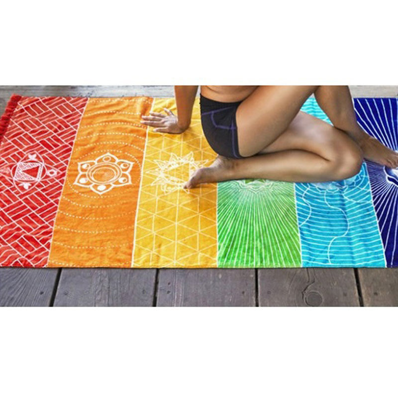 Rainbow Chakra Tapestry Yoga Mat - SHOPPLEHUB