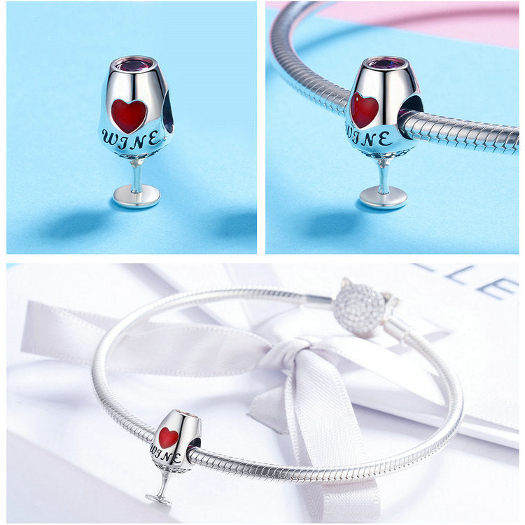 Sterling Silver Wine Cup Heart Pave Charm - SHOPPLEHUB