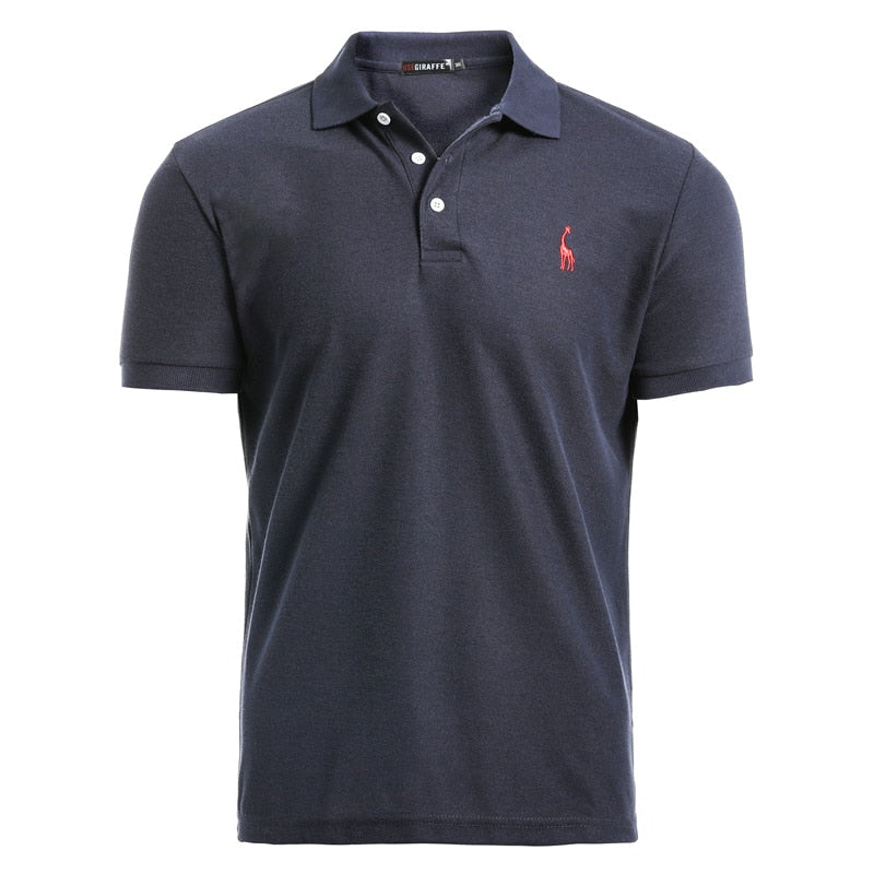 Men's Casual Deer Embroidery Cotton Polo Shirt - SHOPPLEHUB