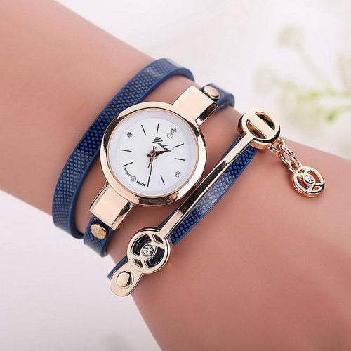 Multi Layer Wristwatch Synthetic Leather Quartz Watches Women Bracelet - SHOPPLEHUB