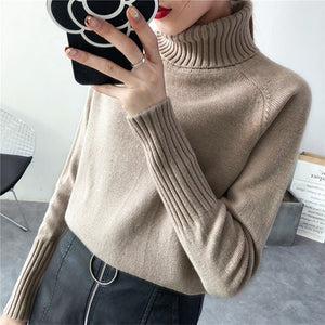 Women Turtle Neck Knitted Sweater - SHOPPLEHUB