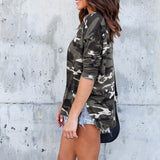 Casual Camouflage Long Sleeve Top - SHOPPLEHUB