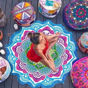 Multifunctional Lotus Printed Tassel Mat - SHOPPLEHUB