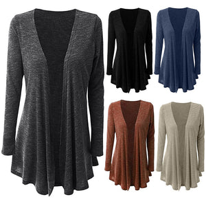 Women Casual Plus Size Long Sleeve Pure Color Fit Open Front Coat Outwear - SHOPPLEHUB