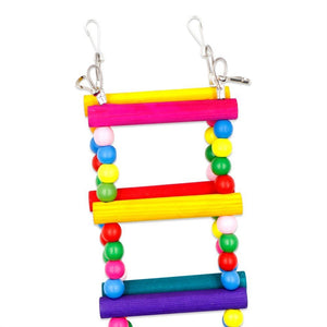 Colorful Ladder Bird Toy 12-Step Flexible Ladders Wooden Rainbow Bridge Swings for Parrots Pet Trainning (Random Color) - SHOPPLEHUB