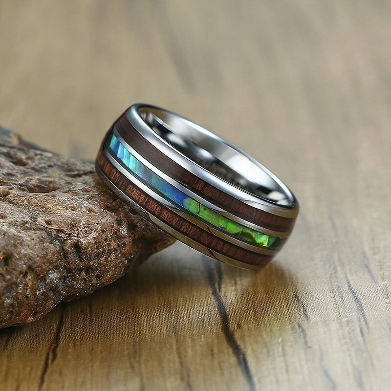 Abalone Shell + Hawaiian Koa Wood Inlay Ring