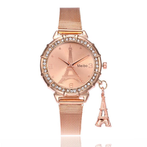 Women Eiffel Tower Stainless Steel Quartz Watch - SHOPPLEHUB