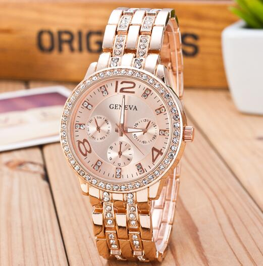Crystal Trimmed Gold Quartz Watch - SHOPPLEHUB