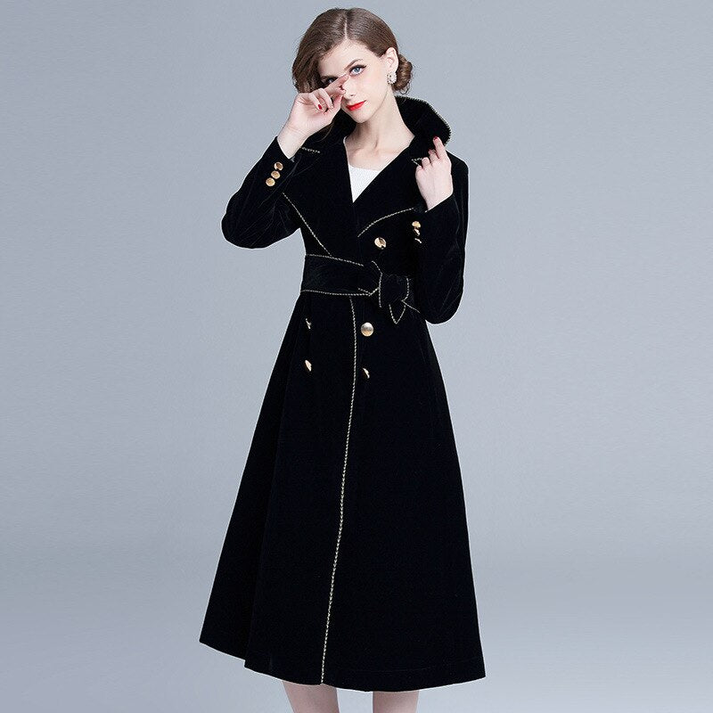 Long Black Velvet Coat - SHOPPLEHUB