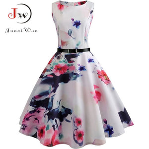 Floral Print Vintage & Elegant Midi Dress - SHOPPLEHUB