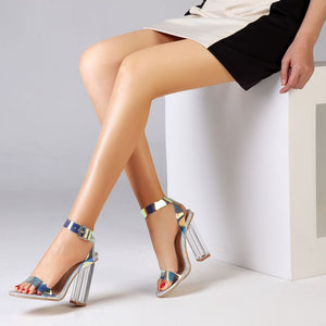 Transparent Strappy Buckle Sandals - SHOPPLEHUB
