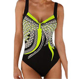 Geometric Print Open Back One Piece Swimwear - SHOPPLEHUB