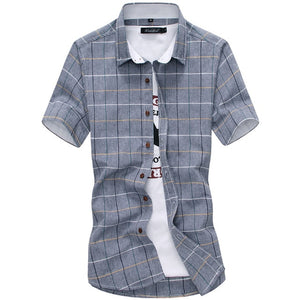 Casual Short Sleeved Plaid Shirts - SHOPPLEHUB