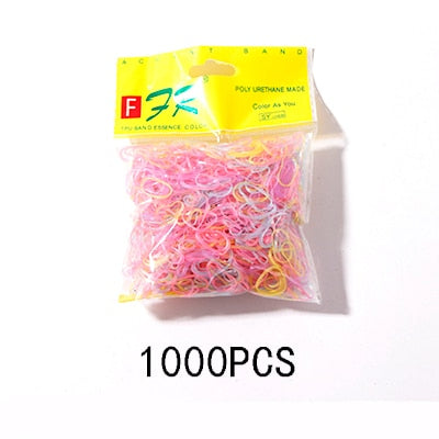 200/1000PCS Colorful Girls Elastic Hair Bands - SHOPPLEHUB