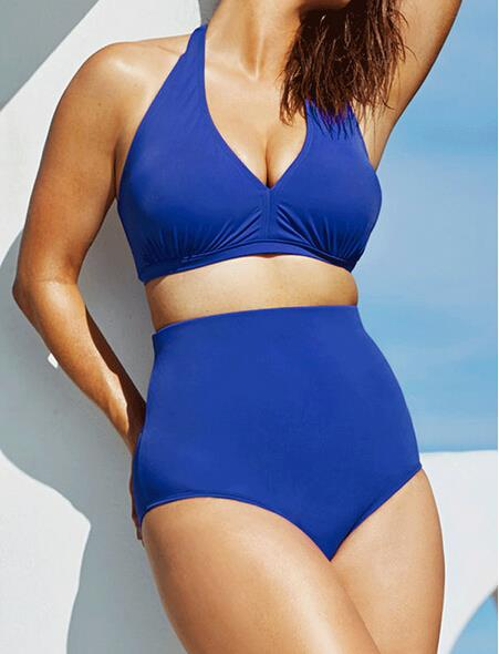 Plus Size Halter Bikini Set - SHOPPLEHUB