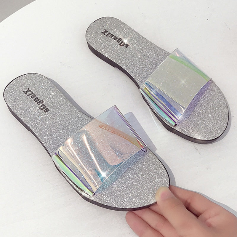 Transparent Slip On Flat Slippers - SHOPPLEHUB