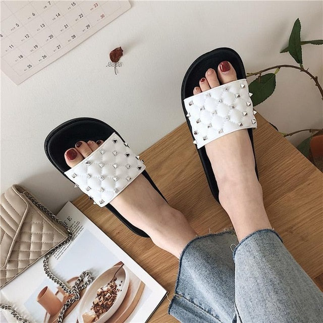 Women's Rivet Summer Slides - SHOPPLEHUB