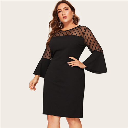 Mesh Patchwork Dress (Plus) - SHOPPLEHUB