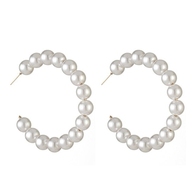 Oversized Bijoux Circle Pearl Drop Earrings - SHOPPLEHUB