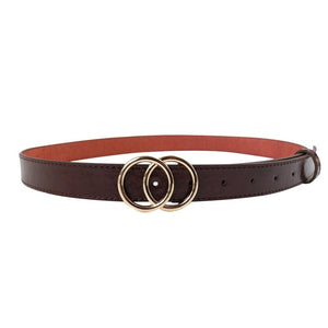 Women's Faux Leather Double Ring Buckle Belt - SHOPPLEHUB