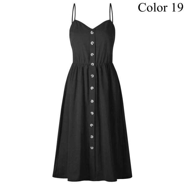 Comfy Buttoned-up Midi Dress - SHOPPLEHUB