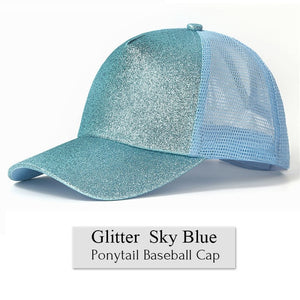 Women's Glitter Messy Bun Baseball Cap - SHOPPLEHUB